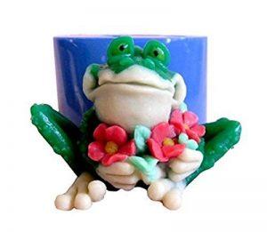➣ Moule en silicone pour l'artisanat avec le moulage d'une grenouille avec des fleurs - Convient également pour les bougies de la marque EVRYLON image 0 produit
