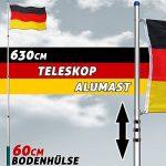 Mât télescopique alu drapeau Allemagne 630 cm hampe jardin mât de hissage pylône de la marque Deuba image 4 produit