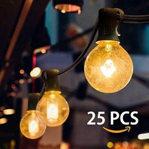 Mture Guirlande lumineuse, Guirlande Guinguette Raccordable avec 25 ampoule Blanc Chaud G40 Lampes Cordes, Décoration intérieur et extérieur pour Patio, Café, Jardin, Décoration de Parti de la marque MTURE image 0 produit