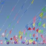 Multicolore fanions 100m 150drapeaux en nylon Guirlande Fanion Banderole Triangle Drapeau de décoration pour mariage fête d'anniversaire Jardin de la marque Joykey image 4 produit