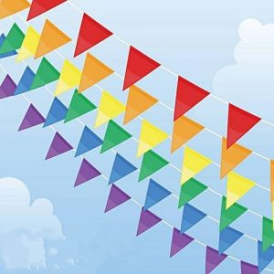 Multicolore fanions 100m 150drapeaux en nylon Guirlande Fanion Banderole Triangle Drapeau de décoration pour mariage fête d'anniversaire Jardin de la marque Joykey image 0 produit