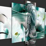 murando - Impression sur toile - 100x50 cm - 5 pieces - Image sur toile - Images - Photo - Tableau - motif moderne - Décoration - tendu sur chassis - Bouddha Fleur Lilie h-A-0028-b-n de la marque BD XXL image 3 produit