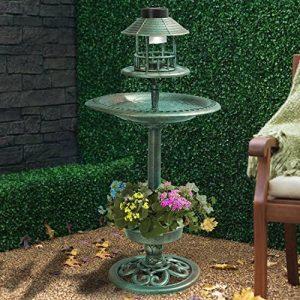 My Garden Path Abreuvoir et mangeoire pour oiseau en cuivre avec lampe solaire Vert de la marque Parkland image 0 produit