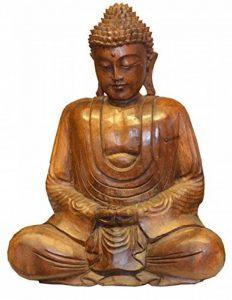 MYSTERY Mountain en bois sculpté à la main Statue de Bouddha assis méditation, bois, marron, 18x 30x 40cm de la marque Mystery Mountain image 0 produit