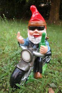 Nain de jardin Rocker sur moto PVC résistant aux chocs Nain–Figurine Fabriqué en Allemagne de la marque RAKSO image 0 produit