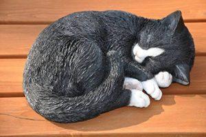 nanook animaux jardin décoration - figurines en résine / pierre artificielle - Chat endormi noir - 26 cm de la marque nanook image 0 produit