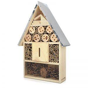 Navaris Hôtel à insecte bois - Cabane abri XL 23 x 40 x 7 cm - Maisonnette refuge toit métal abeille coccinelle papillon et autres insectes volants de la marque Navaris image 0 produit