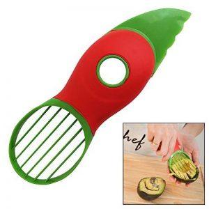 Nouveau coupe-avocat 3-en-1 avec couteau, dénoyauteur, éplucheur, lame en éventail pour extraction. Élu meilleur gadget de cuisine. Ustensile idéal pour la préparation des salades. En moins de 60 sec de la marque Chef Remi image 0 produit
