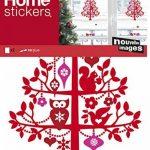 NOUVELLES IMAGES Stickers Design Arbre de Noël/Ses Décorations/Écureuil/Chouettes, Polyvinyle, Multicolore, 36 x 24 x 0,02 cm de la marque NOUVELLES IMAGES image 1 produit