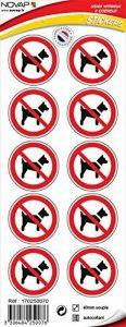 Novap - Pictogramme - Chien interdit - planche 10 pictogrammes adhesifs diam 40 mm de la marque Novap image 0 produit