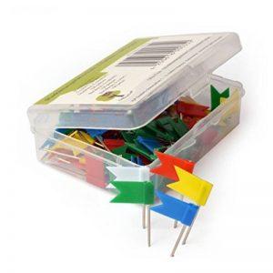 OfficeTree ® Lot de 100 épingles drapeau en 5 coloris assortis - parfaites pour marque des cartes / cartes du monde / tableaux - avec boîte de rangement pratique de la marque Office Tree image 0 produit