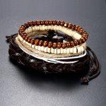 Oidea Bracelet ajustable en cuir et bois avec perles, style tribal avec motif œil d'ange / soleil ou crâne, unisexe, marron noir, modèle à choisir de la marque Oidea image 4 produit