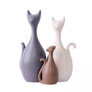 Ornements en céramique de famille charmante de chat, style moderne et éléments décoratifs créatifs (3 chats) - Magenesis ® de la marque Magenesis image 0 produit