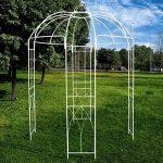 OUTOUR® - Tonnelle de style français - 4côtés - En forme de cage à oiseaux - En métal - Support pour plantes, vigne vierge, fleurs, roses - Pour jardin, pelouse, cour, patio - Pour mariage - Blanche. de la marque OUTOUR image 4 produit