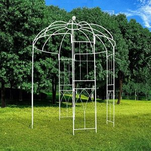 OUTOUR® - Tonnelle de style français - 4côtés - En forme de cage à oiseaux - En métal - Support pour plantes, vigne vierge, fleurs, roses - Pour jardin, pelouse, cour, patio - Pour mariage - Blanche. de la marque OUTOUR image 0 produit