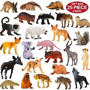 Pack de 25 Figurines Animaux Sauvages réalistes en plastique vinyl (10 cm). Lot de jouets d'apprentissage jungle et animaux de la forêt par ValeforToy pour garçons, filles, enfants et bambins. de la marque Zoo World image 0 produit