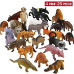 Pack de 25 Figurines Animaux Sauvages réalistes en plastique vinyl (10 cm). Lot de jouets d'apprentissage jungle et animaux de la forêt par ValeforToy pour garçons, filles, enfants et bambins. de la marque Zoo World image 1 produit