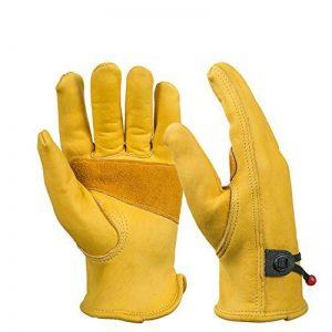 Paire de gants de travail en cuir BearHoHo - Pour hommes - Avec serrage de poignet à balle et ruban adhésif - En fibre de peau de vache, jaune de la marque BearHoHo image 0 produit