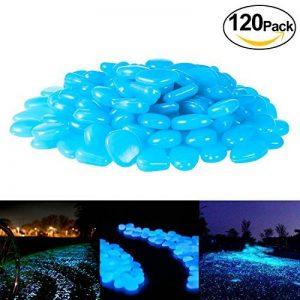 PAMIYO Pierre Lumineuse Exterieur, 120 pcs Artificiels Galets Fluorescent Décoration pour Jardin Chemin Piscine Aquarium Éclairage de Nuit Bleu de la marque PAMIYO image 0 produit