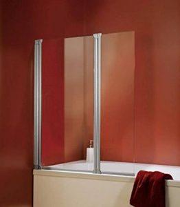 Pare baignoire rabattable, paroi de baignoire réversible, pare-douche pliant 103 x 130 cm, écran baignoire avec 2 volets pivotants, verre transparent, profilés en alu nature de la marque Schulte image 0 produit