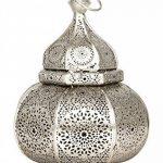 Petite Lanterne marocaine en métal Ziva 30cm argenté   Photophore marocain pour l'extérieur au jardin ou l'intérieur sur la table   Lanternes pour bougie   décoration de maison orientale de la marque Marrakesch Orient & Mediterran Interior image 1 produit