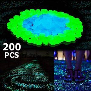 Pierre Lumineuse, Glow dans les Cailloux Sombres, 200pcs Bleu et Vert Extérieur Glow Rocks Pierres pour les Plantes, Allées, Chemin, Fish Tank Aquarium Bricolage Décorations de la marque HomTop image 0 produit