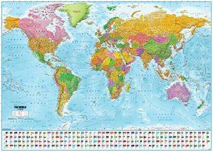Poster XXL Carte du monde avec drapeaux - 2018 - MAPS IN MINUTES® (140cm x 100cm) de la marque Up Close image 0 produit