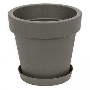 Pot de fleur avec soucoupe en plastique Lofly, classique, 50 cm diam, gris de la marque Prosperplast image 0 produit