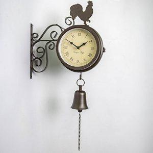 Primrose Horloge et thermomètre d'extérieur montés sur support et ornés d'un coq et d'une cloche–47cm de la marque Primrose image 0 produit