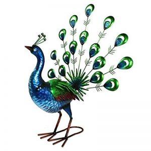Primus® Statue de jardin réaliste en forme de paon faisant la roue, en métal, peinte à la main, aux couleurs éclatantes pour l'intérieur ou l'extérieur; taille grandeur nature, réaliste de la marque Primus Garden Art image 0 produit