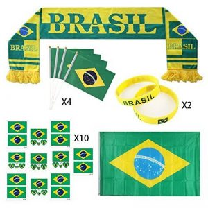 Profer World Cup Set 2018, Football Fans Écharpe, Drapeaux tenus à la Main, Grand Drapeau National, Autocollants de Tatouage, Bracelets en Silicone, Party Club Décorations de Bar Fête de la marque Profer image 0 produit