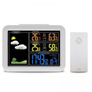 Protmex Station météo, station météo atomique sans fil avec réveil, Snooze, temp intérieur/extérieur/humidité de la marque Protmex image 0 produit
