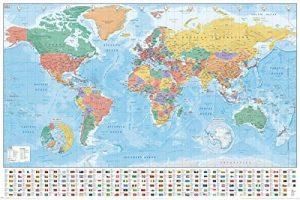 Pyramid International drapeaux et générale Maxi poster Carte du monde, Multicolore, 61x 91.5x 1.3cm de la marque Pyramid International image 0 produit