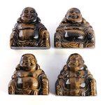 QGEM 2 pouces Petite Statue Bouddha Figurine Gravé Sculpté en Énergie Pierre Chakra Naturelle pour Décor Maison,Voiture(Gemme oeil de tigre) de la marque QGEM image 2 produit