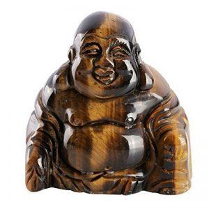 QGEM 2 pouces Petite Statue Bouddha Figurine Gravé Sculpté en Énergie Pierre Chakra Naturelle pour Décor Maison,Voiture(Gemme oeil de tigre) de la marque QGEM image 0 produit