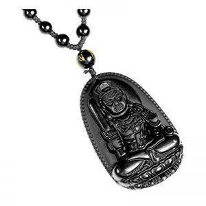 QGEM 51*33mm Collier en Energie Pierre de Protection Obsidienne Bouddha Noir Naturelle Chaîne Perle Réglable Porte Bonheur Heureux pour Homme Femme de la marque QGEM image 0 produit