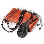 QGEM 51*33mm Collier en Energie Pierre de Protection Obsidienne Bouddha Noir Naturelle Chaîne Perle Réglable Porte Bonheur Heureux pour Homme Femme de la marque QGEM image 2 produit