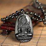 QGEM 51*33mm Collier en Energie Pierre de Protection Obsidienne Bouddha Noir Naturelle Chaîne Perle Réglable Porte Bonheur Heureux pour Homme Femme de la marque QGEM image 1 produit