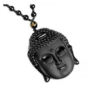 QGEM Collier Long de Pendentif Gravé en Energie Reiki Pierre de Obsidienne Noir Bouddha Naturelle Chaîne Perle Réglable Porte Bonheur pour Homme Femme de la marque QGEM image 0 produit