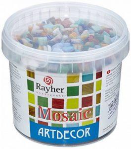 Rayher Hobby mosaïque de verre 1 x 1 cm – mélange de tesselles mosaïque seau de 1 kg (env. 1300 pièces) – carreaux mosaïque idéals pour la décoration dans la maison et à l'extérieur – multicolore de la marque Rayher Hobby image 0 produit