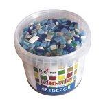 Rayher Hobby pierres mosaïque en verre – seau de 1 kg de 1300 pièces de tesselles de verre carrés –mosaïque de verre de 1 x 1cm pour une surface d'environ 35x40 cm – Couleur : bleu de la marque Rayher Hobby image 1 produit