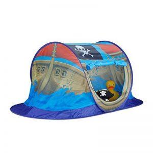 Relaxdays Bateau pirate Tente de jeu pour garçons, maison pour Pop Up pour une utilisation intérieure et extérieure, Hxlxp 68x 170x 85cm, Bleu de la marque Relaxdays image 0 produit