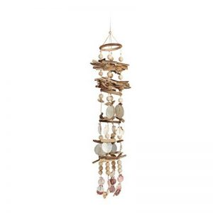 Relaxdays Carillon à coquillages attrape-rêves mobiles coquillages guirlande Décoration à suspendre bois flotté 107 cm de la marque Relaxdays image 0 produit
