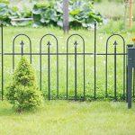 Relaxdays Clôture de jardin en métal lot de 4 en fer forgé jardin terrasse bordure poteau 4,8 m 90 x 120 cm anthracite noir de la marque Relaxdays image 1 produit