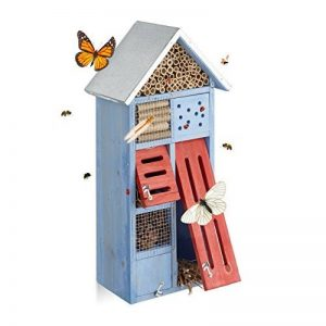 Relaxdays Hôtel à insectes avec toit en métal balcon terrasse jardin abeille coccinelle papillon HxlxP: 48,5 x 24 x 14 cm refuge abri, bleu de la marque Relaxdays image 0 produit