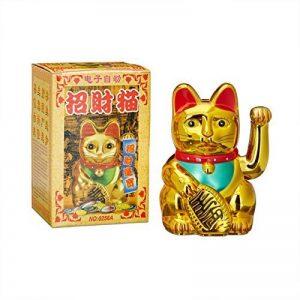 Relaxdays Maneki-Neko chat chinois porte-bonheur Asie Chine Japon Thailande Doré 8 x 10 x 16 cm de la marque Relaxdays image 0 produit