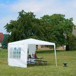 Relaxdays Tonnelle pavillon chapiteau pergola festival 3x3 m, 2 côtés fenêtres métal PE tente de jardin, blanc de la marque Relaxdays image 1 produit