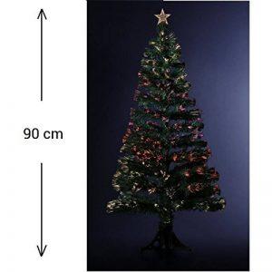 Sapin de Noël artificiel lumineux avec fibre optique + 88 BRINS à Variation de lumière - livré avec son pied - Hauteur 90 cm - Coloris VERT de la marque Féerie christmas image 0 produit