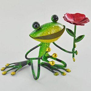 SC Gifts Fabulous Vert Grenouille de jardin en métal avec fleur Sculpture Ornement Figure grenouilles de la marque SC Gifts image 0 produit