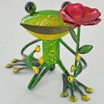 SC Gifts Fabulous Vert Grenouille de jardin en métal avec fleur Sculpture Ornement Figure grenouilles de la marque SC Gifts image 1 produit